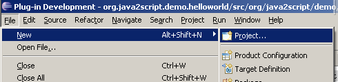 Create Java2Script Project Menu Screenshot